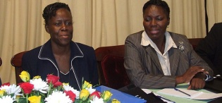 Ag. Vice Chancellor Prof. Lillian Tibatemwa-Ekirikubinza (L) with Deputy Speaker of Parliament, Rt. Hon. Rebecca Kadaga on Day 1 of the 3rd Stakeholders Consultative Conference, 26th to 27th March 2009, Makerere University, Kampala Uganda