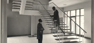 Inside the newly opened Faculty of Agriculture Building on 13th March 1958, Makerere University, Kampala Uganda