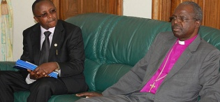 His Grace, The Archbishop of Uganda, The Most Rev. Henry Luke Orombi and Dr. M. Kansiime, AFRISA, during HIs Grace's inaugural visit to Makerere University on 24th August 2011, Makerere University, Kampala Uganda