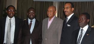 L-R Prof. D. Serwadda, MakSPH, CHS, Acting Vice Chancellor Prof. V. Baryamureeba, Chancellor, Prof. G.M. Kagonyera, Assoc. Prof. W. Bazeyo, Dean, MakSPH, CHS (Right) at the Public Debate on 23rd August 2012, Imperial Royale Hotel, Kampala Uganda