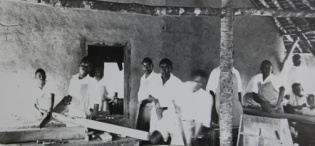 An undated picture showing Carpentry students of Kampala Technical School founded in 1928, later Estates and Works Department
