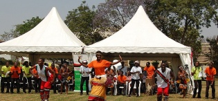 Students of the Department of Performing Arts and Film, PAF, CHUSS, entertain guests at the Launch of Constituent Colleges on 24th January 2012, Makerere University, Kampala Uganda