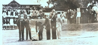 HRH The Duke of Gloucester cuts the first sod of the Foundation of the new Makerere College 3rd November 1938.