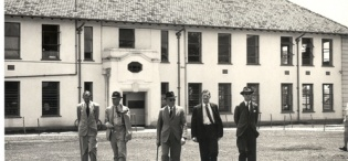The Earl of Perth and Minister of State for Colonial Affairs (1957-62) Mr. J.D. Drummond inspects Colonial Administration infrastructure on 11th April 1959 during his tour of Uganda and Kenya