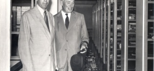 The Earl of Perth and Minister of State for Colonial Affairs (1957-62) Mr. J.D. Drummond visits the Makerere Library in April 1959 during his tour of Uganda and Kenya