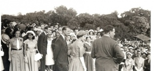 Governor of Uganda Sir Andrew Cohen (L) and meets residents and staff of the Uganda Protectorate on 6th January 1957