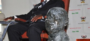 A bronze bust designed by Assoc. Prof. George Kyeyune, MTSIFA, CEDAT, was presented to President Y.K. Museveni in recognition of his support to Innovations and Incubation Programmes at Makerere University on 24th November 2011, Makerere University, Kampala Uganda