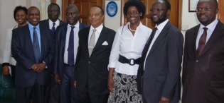 L-R Ms. C. Kanabahita, Kenyan High Commission Official, Eng. Dr. C. Wana-Etyem, Dr. William Kalema, Rt. Hon. Prof. Apolo Nsibambi, Mrs. Anyang' Nyong'o, Prof. Peter Anyang' Nyong'o, pay courtesy call to VC Prof. V. Baryamureeba prior to the Re-launch of the Makerere Africa Lecture Series, 2nd December 2011, Makerere University, Kampala Uganda