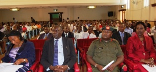 Assoc. Prof. Pamela Mbabazi (L), UPDF Spokesman Col. Felix Kulayigye (3rd L) with members of the FSF Board of Trustees attend the Re-launch of the Makerere Africa Lecture Series, 2nd December 2011, Makerere University, Kampala Uganda