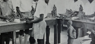 Gregory Maloba with his Sculpture class students at the Makerere Art School, later MTSIFA, Makerere University, Kampala Uganda.