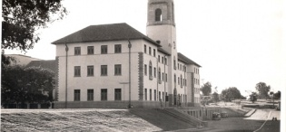 Main Building, Makerere University, Kampala Uganda. Completed in 1941. Side View from South-East direction