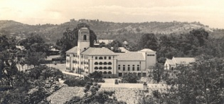 Main Building, Makerere University, Kampala Uganda. Completed in 1941. Panoramic View from Northern direction