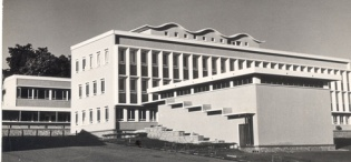 The Medical School Building just after its construction, Makerere University, Kampala Uganda. The building houses the Sir Albert Cook Memorial Library