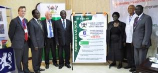 L-R:Dr. Paul Richard Fife-NORAD, Vice Chancellor Prof. J. Ddumba-Ssentamu, Norwegian Ambassador H.E Thorbjørn Gaustadsæther, VP H.E. Edward Kiwanuka Ssekandi, Mrs. E. Gabona-MoES, Chancellor Prof. G. Mondo Kagonyera & Chairperson Council Eng. Dr. C. Wana-Etyem at NORHED Programme launch, Hotel Africana 6th March 2013