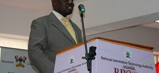 Ag. Vice Chancellor, Prof. Venansius Baryamureeba addresses gathering at National BPO Training Launch, 17th January 2011, Makerere University, Kampala Uganda
