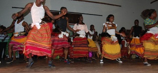 Students from the Department of Performing Arts and Film (PAF), College of Humanities and Social Sciences (CHUSS) entertain The Nnabagereka and Guests during Her Royal Highness' visit on 21st October 2011, Makerere University, Kampala Uganda