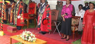 L-R The Ag. Vice Chancellor Prof. V. Baryamureeba, Chancellor-Prof. G.M. Kagonyera, H.E. President Yoweri K. Museveni, First Lady Hon. Janet Museveni and Ms. Rehema Kawawa at the Honorary Doctorate of Laws Award Ceremony, 12th December 2010, Makerere University, Kampala Uganda