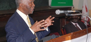 H.E. Thabo Mbeki, Former President of the Republic of South Africa addresses participants during his Public Q&A session on 19th January 2012, Makerere University, Kampala Uganda