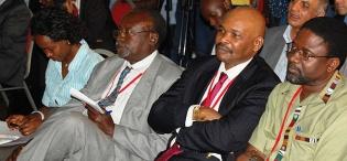 L-R Participants Dr. Sarah Ssali, CHUSS, Prof. Tarsis Kabwegyere, Prof. Joe Oloka Onyango during President Thabo Mbeki's Public Q&A session on 19th January 2012, Makerere University, Kampala Uganda