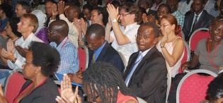 Participants from the Two-Day MISR Conference on The Architecture of Post-Cold War Africa formed part of the audience during President Thabo Mbeki's Public Q&A session on 19th January 2012, Makerere University, Kampala Uganda