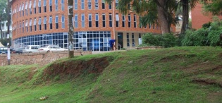 View from Lumumba Hall of the St. Francis Community Centre, Dedicated on 9th January 2005 by the Most Rev. Henry Luke Orombi, Makerere University, Kampala Uganda