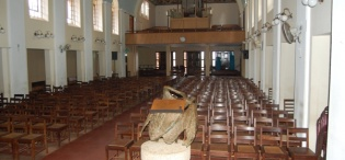 An interior view of St. Francis Chapel as at June 2011, Makerere University, Kampala Uganda. Completed in 1941.