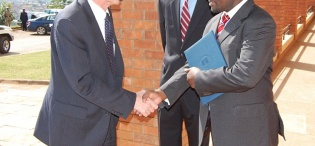 Ag. Vice Chancellor Prof. V. Baryamureeba receives US. Deputy Secretary of State James Steinberg (L) upon arrival to deliver a Public Lecture, 4th February 2011, Makererere University, Kampala Uganda