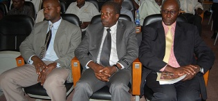 Ag. Principal, CHUSS, Prof. Oswald Ndoleriire (R) and Deputy Ag. Principal, CAES, Prof. Frank Kansiime (2nd R) attended the Deputy Secretary's Public Lecture on US Foreign Policy in Africa, 4th February 2011, Makererere University, Kampala Uganda