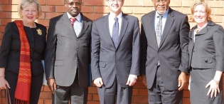 L-R Amb. Mary Carlin Yates, Ag. Vice Chancellor Prof. V. Baryamureeba, U.S. Deputy Secretary of State, James Steinberg, Amb. Johnnie Carson and Ms. Virginia Blaser in a group photo after the Deputy Secretary's Public Lecture on US Foreign Policy in Africa, 4th February 2011, Makererere University, Kampala Uganda