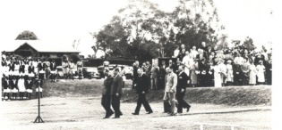 Arrival of HRH The Duke of Gloucester for the cutting of the first sod of the Foundation of the new Makerere College 3rd November 1938.