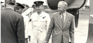 The Earl of Perth and Minister of State for Colonial Affairs (1957-62) Mr. J.D. Drummond arrives at Entebbe on 11th April 1959 during his tour of Uganda and Kenya