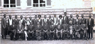 The First Bachelor of Laws (LLB) Class of 1968-69 pictured here with Principal-Prof. Y.K. Lule (6th L), Dean Social Sciences-Prof. Ali. A. Mazrui (5th L) and Head Department of Law-Prof. J. Kakooza (6th R) in June 1968, Makerere University, Kampala Uganda