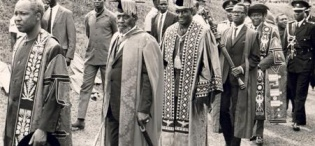 L-R Presidents, Julius Nyerere, Jomo Kenyatta, and Kenneth Kaunda in procession followed by P. Anyang' Nyong'o and Chancellor Dr. Apollo Milton Obote at the 8th October 1970 Inauguration, Makerere University, Kampala Uganda