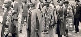 L-R Presidents, Julius Nyerere, Jomo Kenyatta, and Kenneth Kaunda in procession followed by P. Anyang' Nyong'o and Chancellor Dr. Apollo Milton Obote at the 8th October 1970 Inauguration, Makerere University, Kampala Uganda