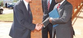 Ag. Vice Chancellor Prof. V. Baryamureeba receives US. Deputy Secretary of State James Steinberg (L) upon arrival to deliver a Public Lecture, 4th February 2011, Makererere University, Kampala Uganda