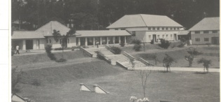 A picture of University Hall taken in the early 1960s at Makerere University, Kampala Uganda